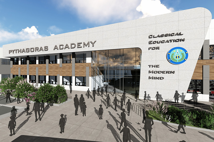 rendering of front of institutional pythagoras academy architecture in richmond bc