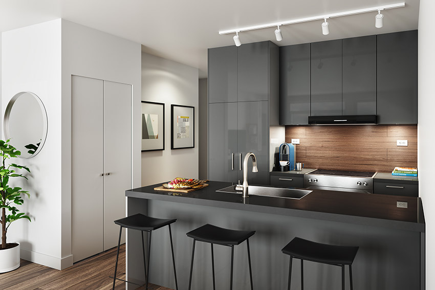 interior design of kitchen in residential building