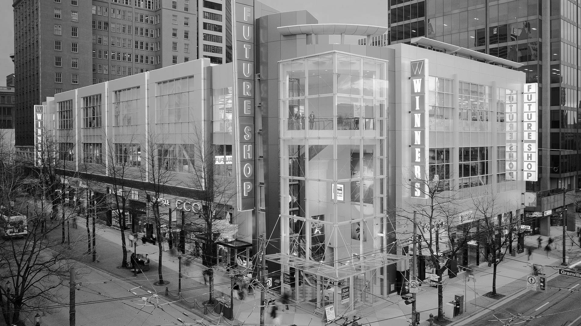 black and white vancouver commercial architecture at robson street and granville street