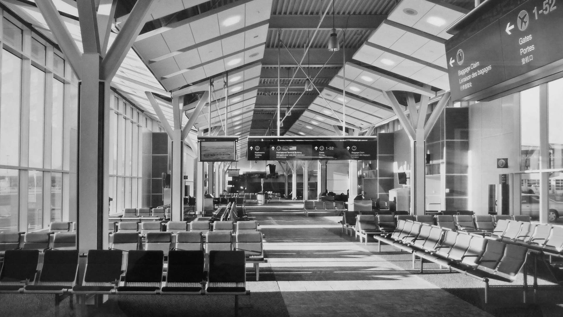 black and white vancouver international airport waiting area interior design