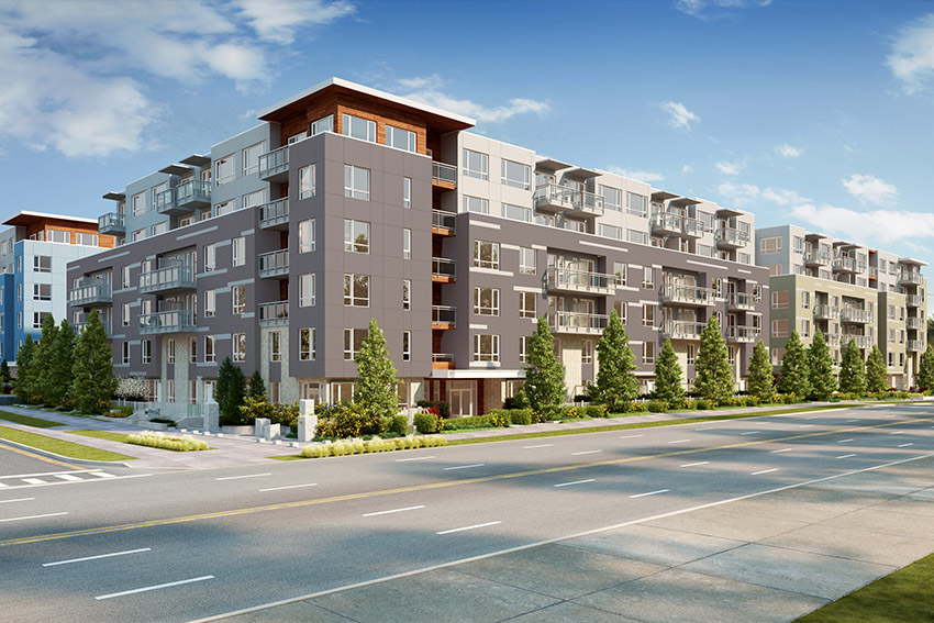 computer rendering of large residential complex from across the street