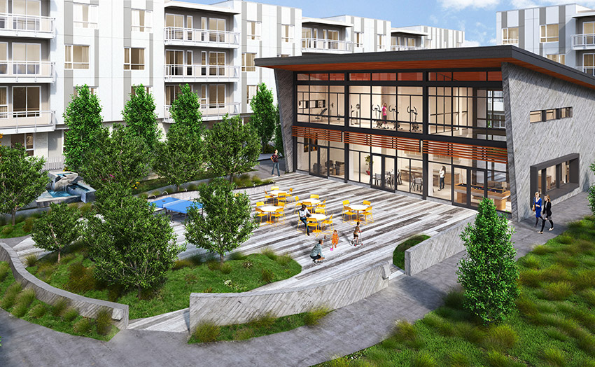 computer rendering of workout facility and courtyard of surrey residential complex