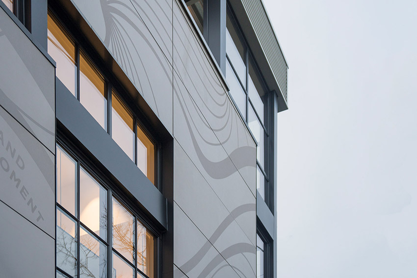 closeup side view of kitsilano commerical building showing interesting architectural angles