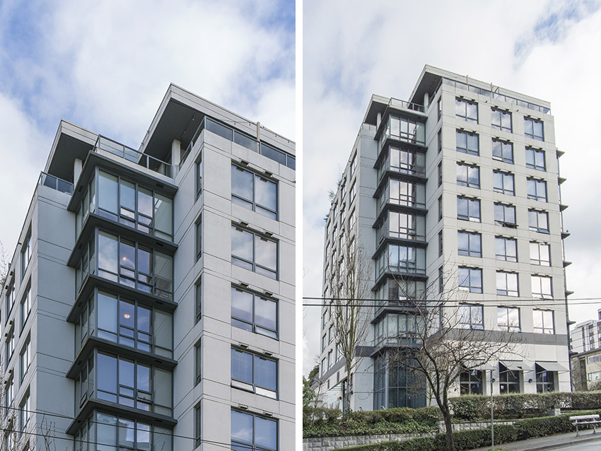 two views side by side of coner of residential midrise apartment building