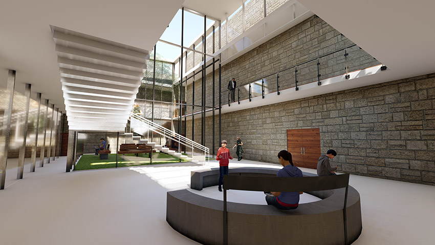 computer rendering of lounge area school institutional architecture