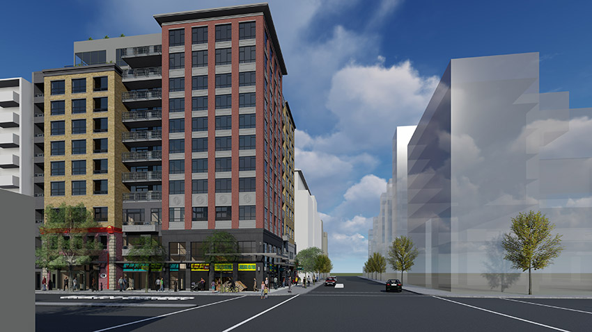 computer rendering of street view of main and union vancouver architecture