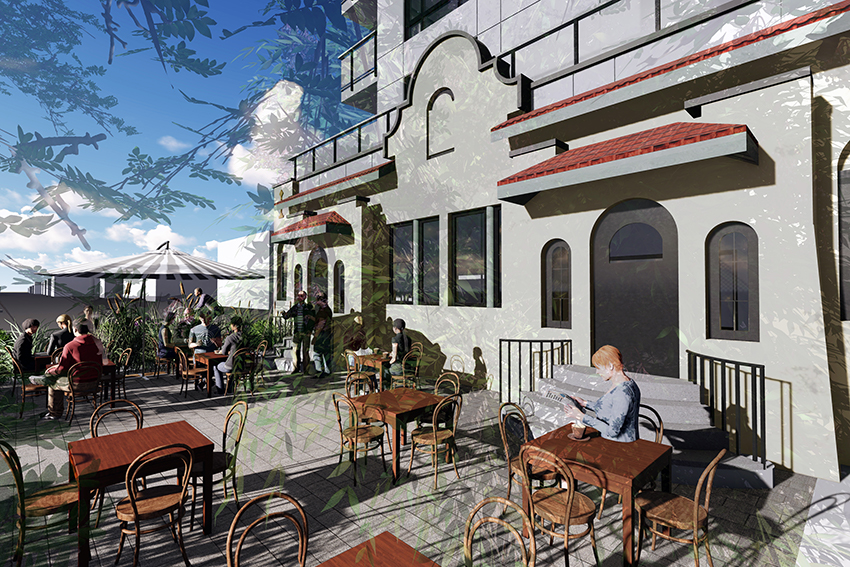 rendered patio view of hastings street vancouver residential and commercial architecture project