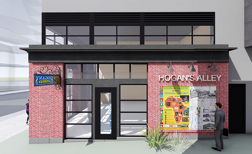 rendered image of hogan's alley in vancouver architecture project