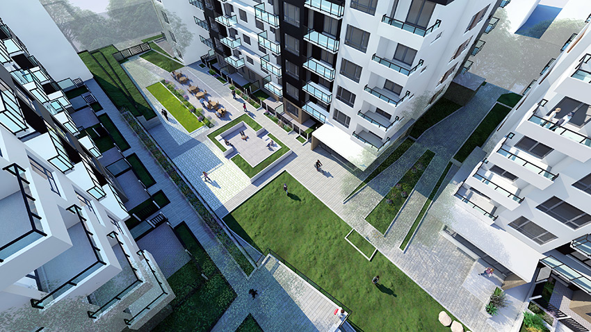 court yard rendering of residential architecture