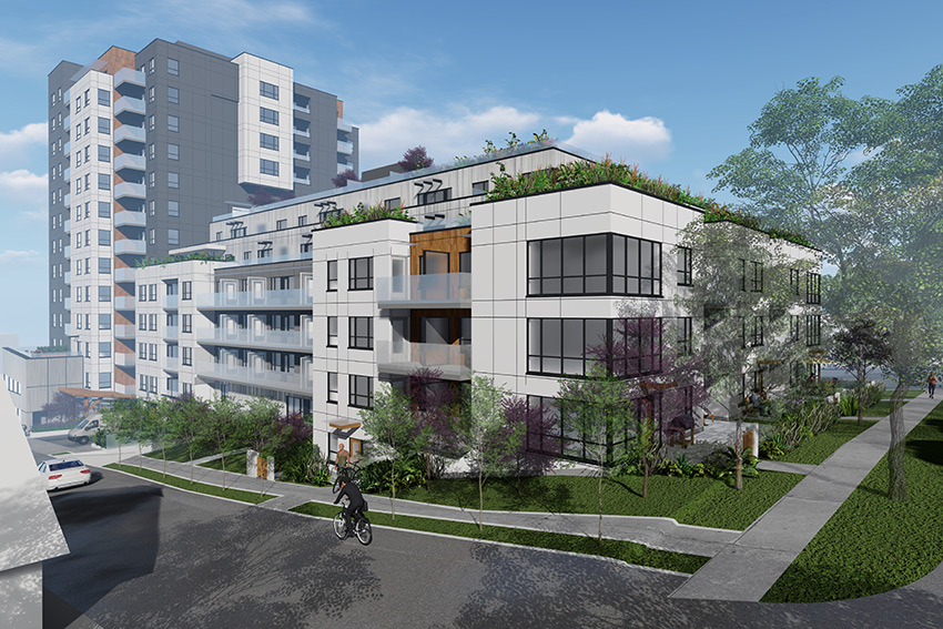 rendered view from the side street of renfrew vancouver architecture complex