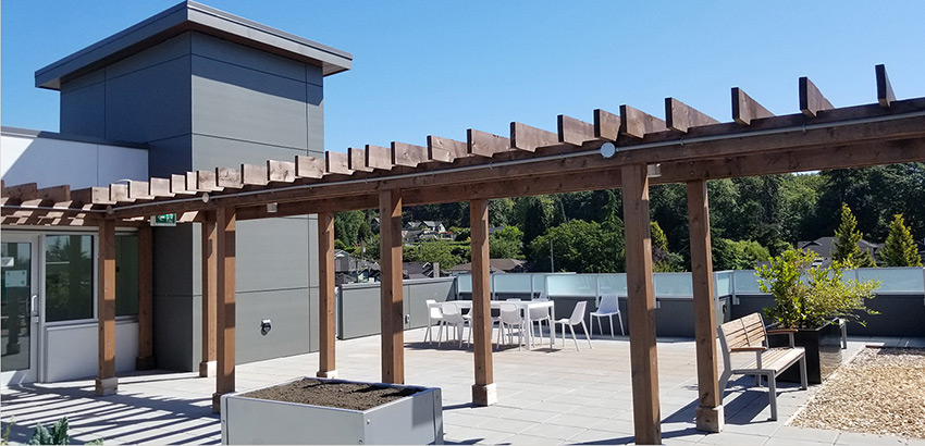 roof deck wooden walkway of five point residential vancouver architecture project