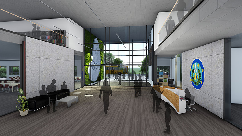 rendered indoor view of pythagoras academy showing the institutional archicture in richmond bc