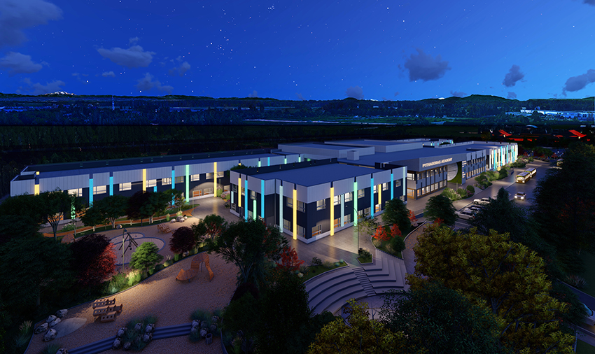 night time rendered view of pythagoras academy in richmond bc showing the institutional architecture