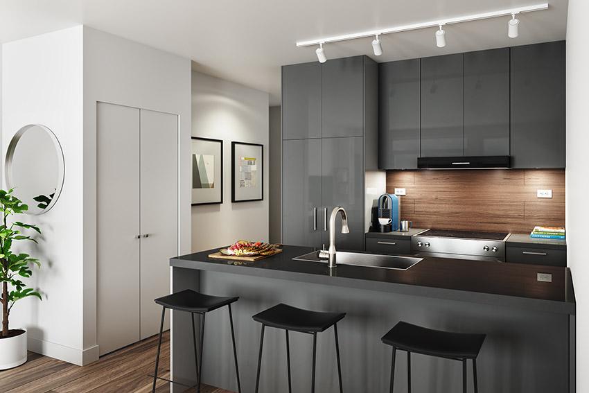 interior design of kitchen in residential building