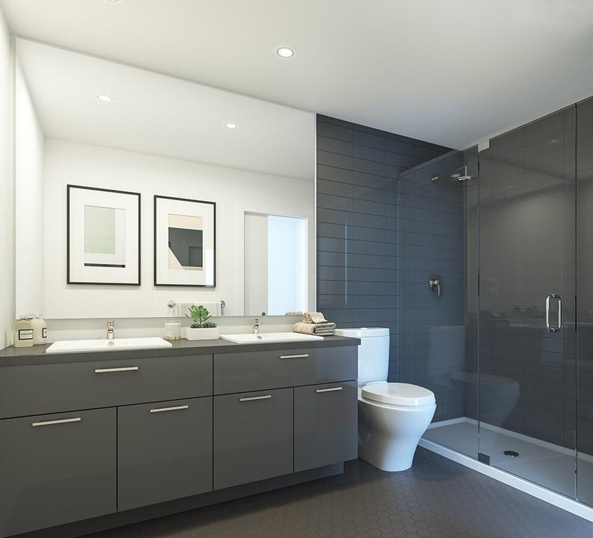 interior design of bathroom in residential complex