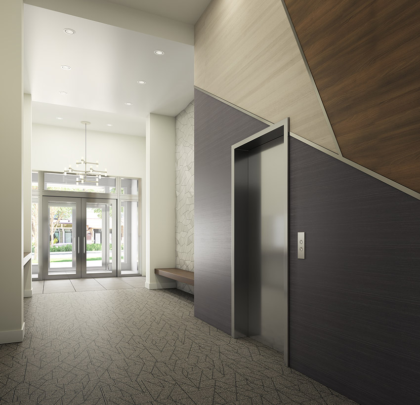 interior design of lobby of north vancouver residential build