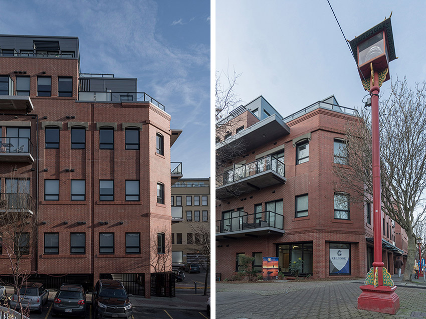 side by side views of heritage building