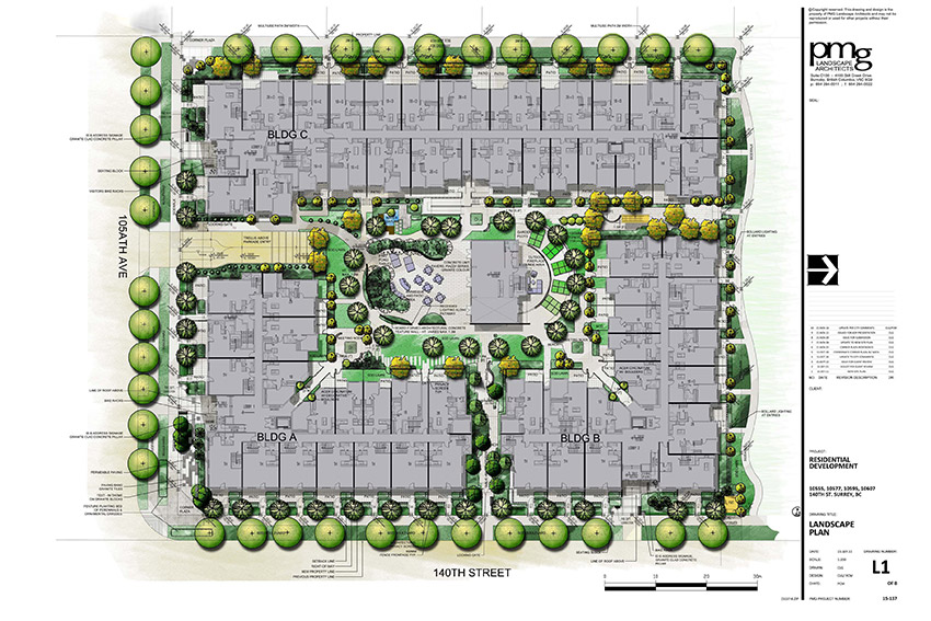 architectural overhead drawing of surrey residential complex