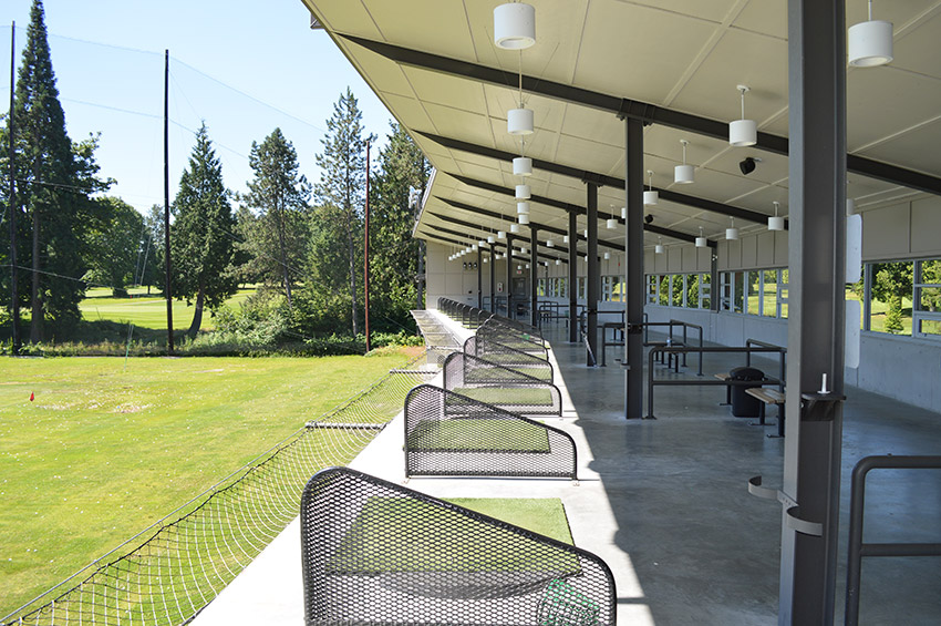 golf course design and architecture rows of driving range boxes