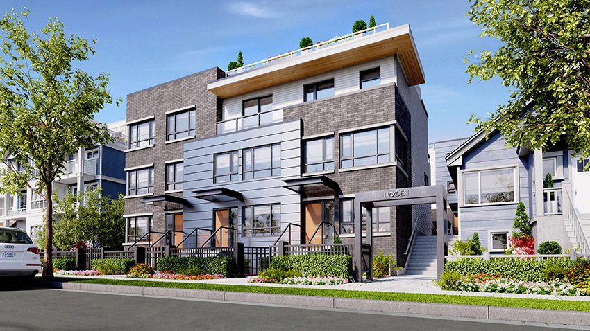 3 story residential condos in vancouver next to house