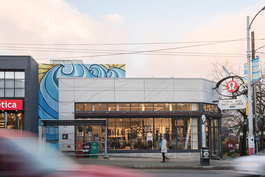 across the street view of lululemon commercial store on 4th avenue in Kitsilano Vancouver