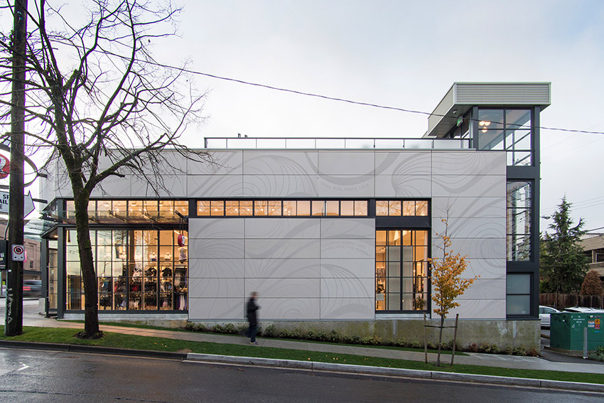 across the street view of lululemon commercial building in Kitsilano