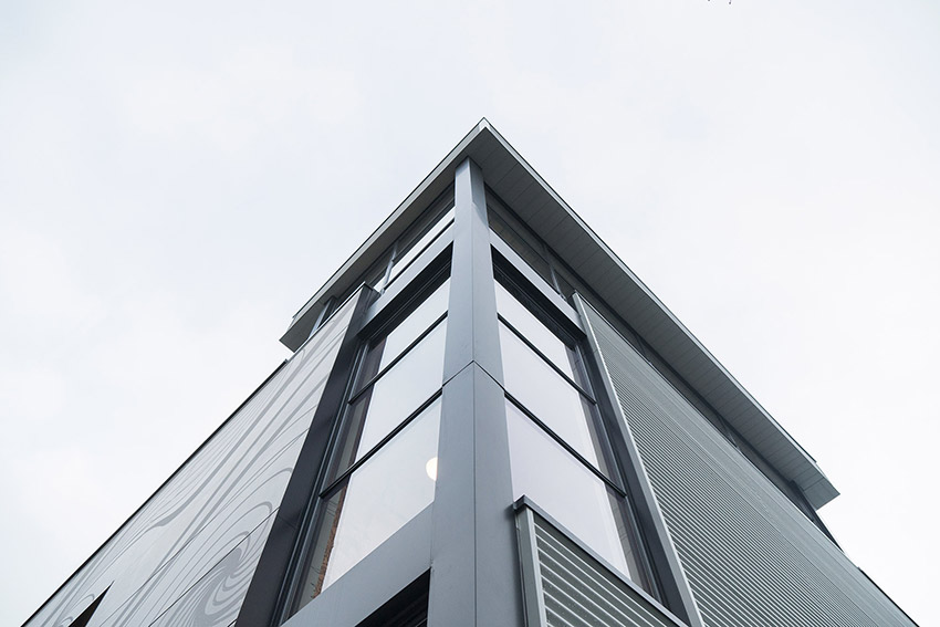 top corner view of lululemon commercial building showing architectural angles