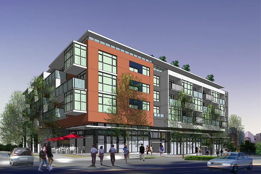 computer rendering of street view of main and 4th building