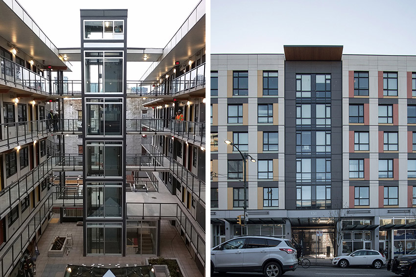 side by side pictures of front of hastings street build and its courtyard from the inside