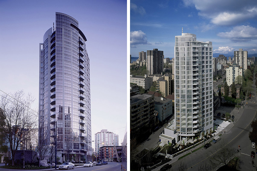 side by side pictures of full sterling building showing the west end of vancouver in the background