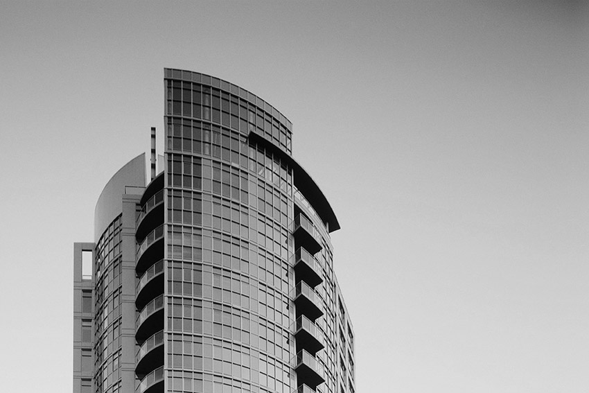 black and white top view of sterling residential building