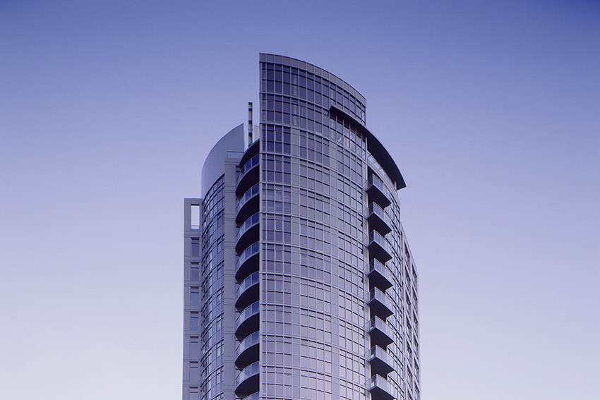 vancouver residential highrise with clear blue sky
