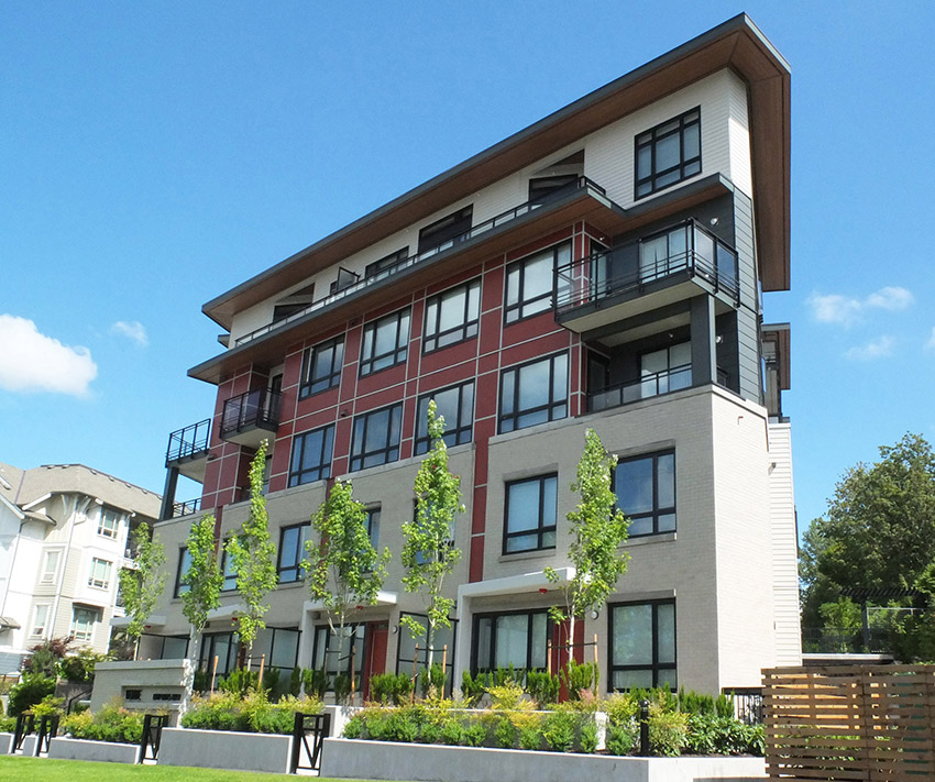 5 story residential building with new landscaping
