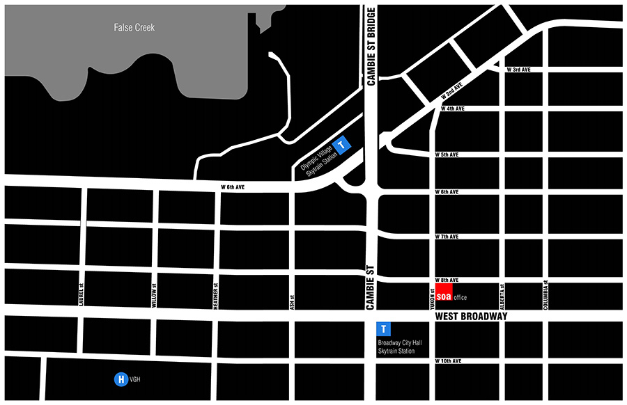 studio one architecture office map located at yukon street and 8th avenue in vancouver near cambie and broadway