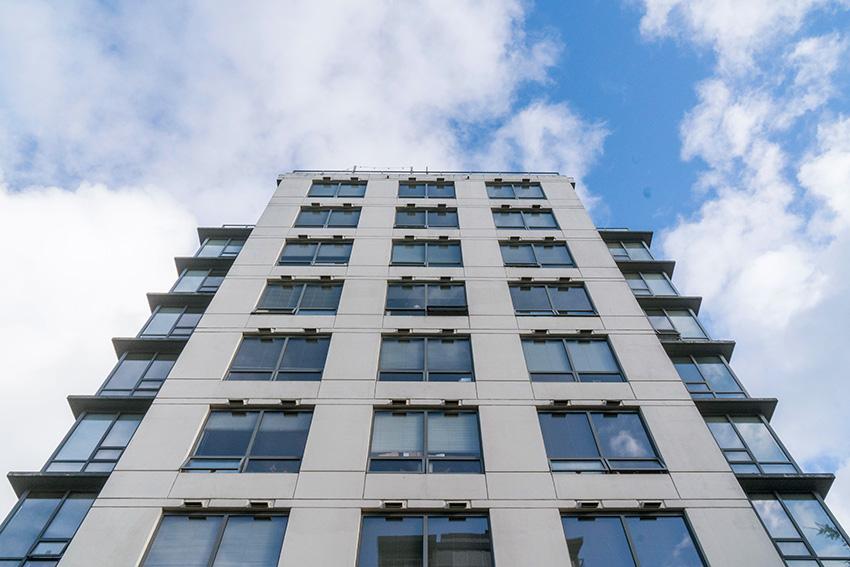 elevation view of midrise condominium showing 6 floors