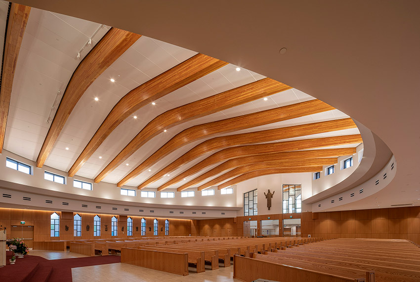 angle view of church ceiling architecture