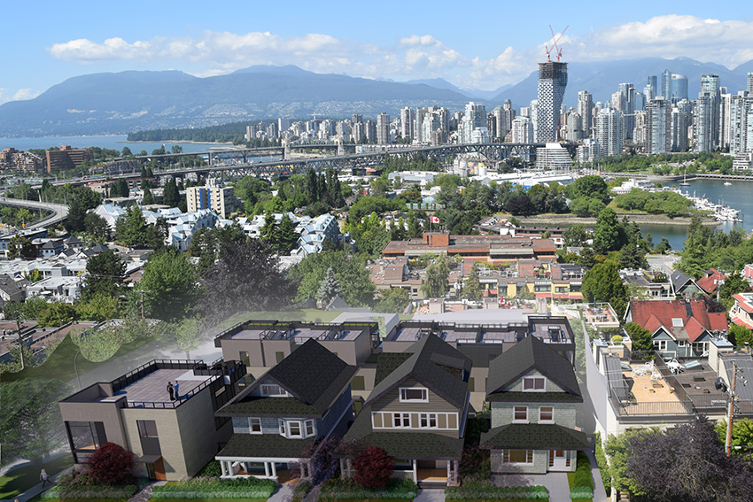 vancouver city view showing the birch street residential architecture complex