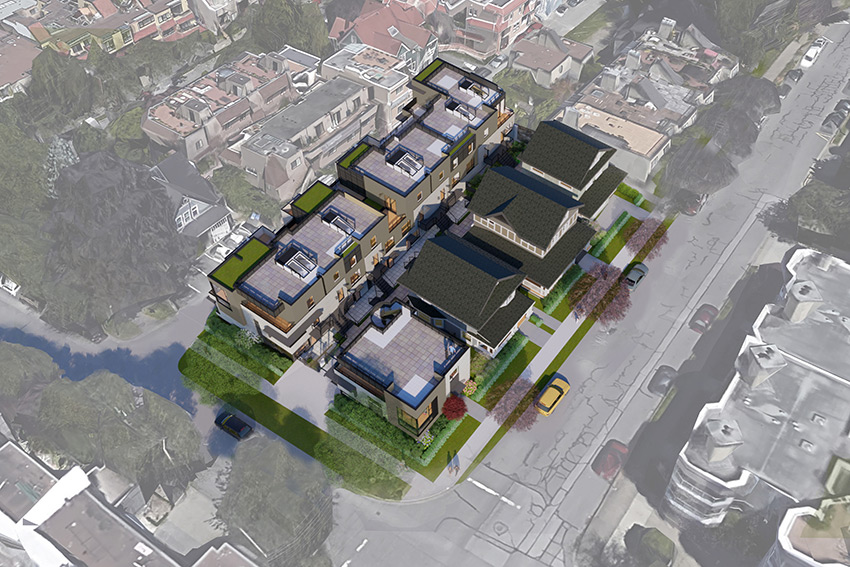 rendering image of birch street architecture project in residential vancouver neighbourhood