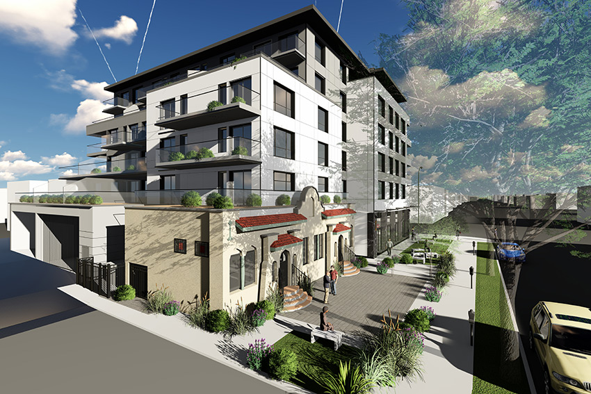 rendered street view of hastings street residential architecture with commercial at street level