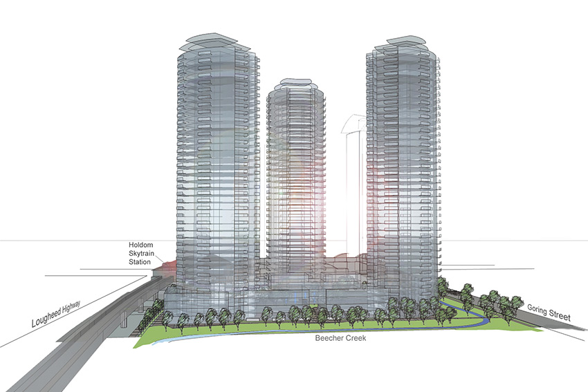 rendered side view of three towers of holdom residential architecture complex in burnaby bc