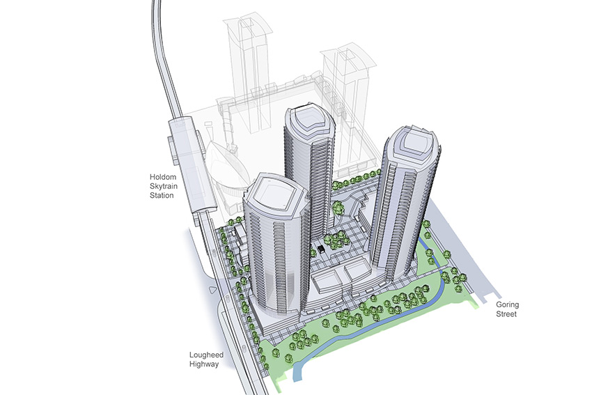 rendered birds eye view of three sky scraper towers of holdom station complex in burnaby bc