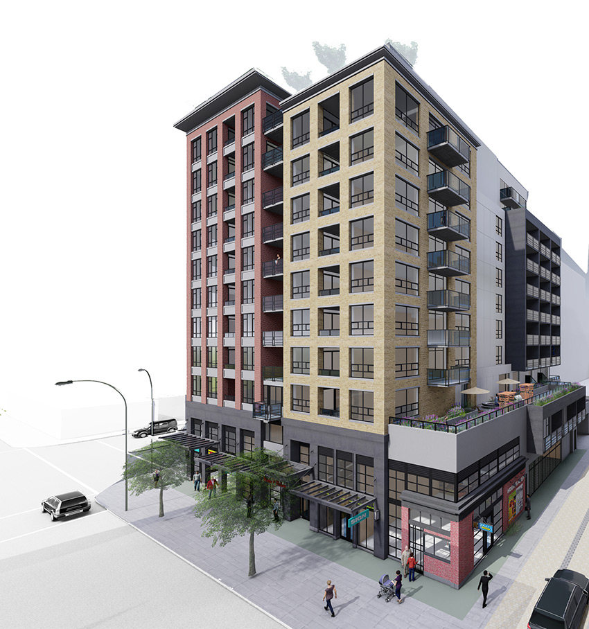 side street view of main and union residential architecture project in vancouver