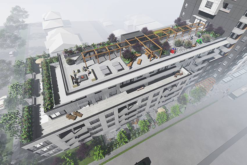 rendered birds eye view of vancouver renfrew residential architecture of roof top deck