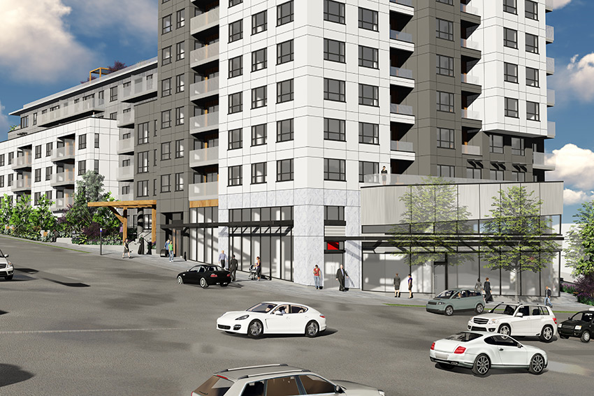 rendered closeup view of renfrew street retail at street level of vancouver architecture complex