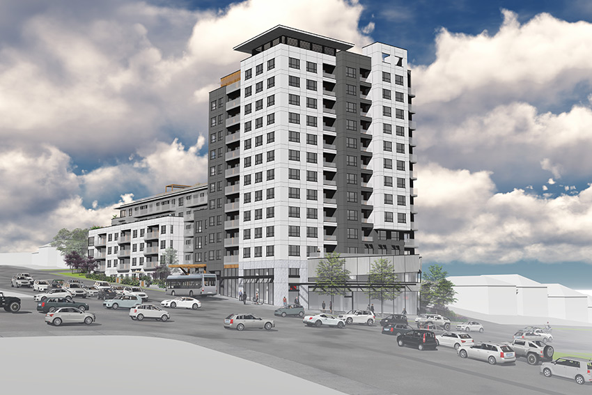 rendered view of renfrew achitecture in vancouver focusing on the main tower