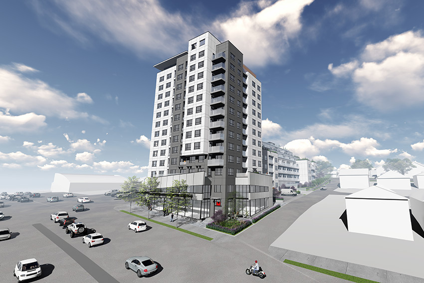 rendered distance view of renfrew complex architecture in vancouver