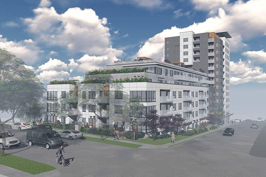 rendered rear view of vancouver renfrew residential architecture from side street