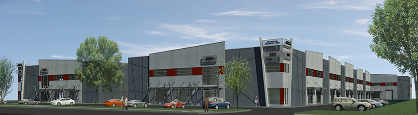 rendering of business park in port coquitlam commercial architecture